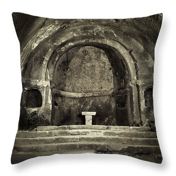 Tomb And Altar In The Monastery Of San Pedro De Rocas Throw Pillow