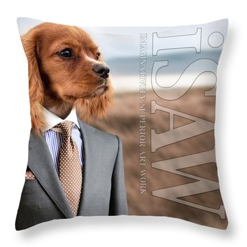 Throw Pillow featuring the digital art Top Dog Magazine by ISAW Company