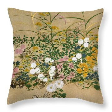 Top Quality Art - Flowering Plants In Autumn #1 Throw Pillow