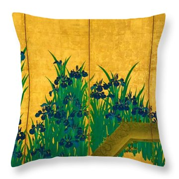 Top Quality Art - Irises At Yatsuhashi-eight Bridges #1 Throw Pillow