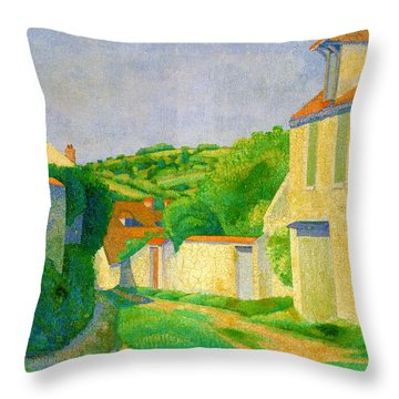 Top Quality Art - Landscape In Vetheuil Throw Pillow