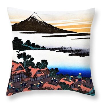 Top Quality Art - Mt Fuji36view-koshu Isawa Sunset Throw Pillow