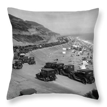 Topanga State Beach 1920 Throw Pillow