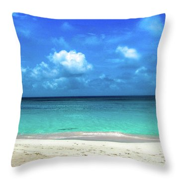Topical Beach View Anguilla Throw Pillow