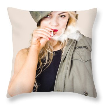 Tough And Determined Female Pin-up Soldier Smoking Throw Pillow