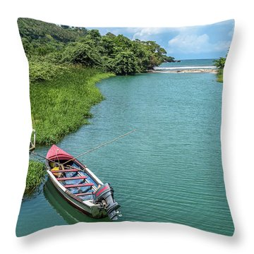 Tour Boat In Jamaica Throw Pillow
