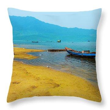 Tourists In Lang Co 2 - Hue, Vietnam Throw Pillow