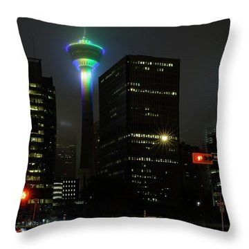 Throw Pillow featuring the photograph Tower Glow by Brad Allen Fine Art