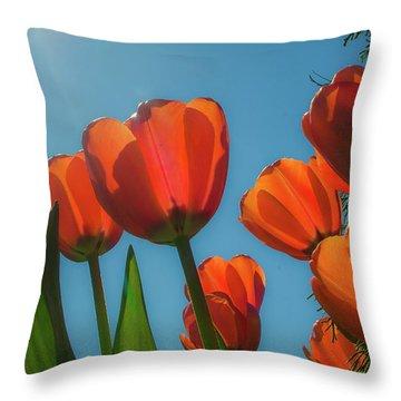 Towering Tulips Throw Pillow