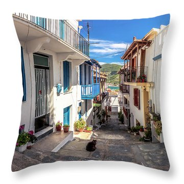Town Of Skopelos Throw Pillow