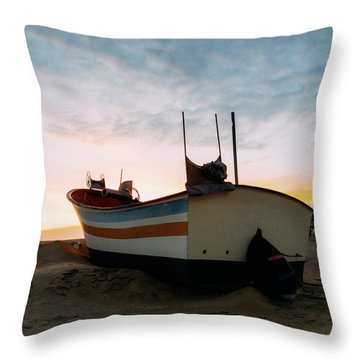 Traditional Wooden Fishing Boat Throw Pillow