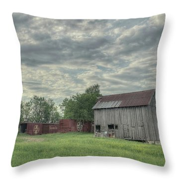 Train Cars And A Barn Throw Pillow