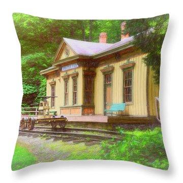 Train Depot With Hand Car Throw Pillow