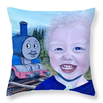 Throw Pillow featuring the painting Train by Kevin Daly