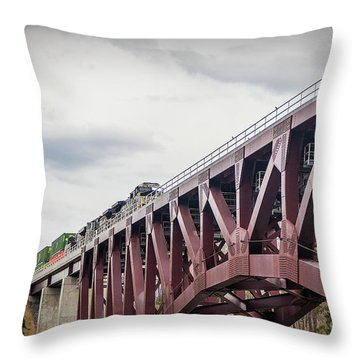 Train Over Letchworth Throw Pillow