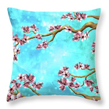 Tranquility Blossoms In Blue And Pink Throw Pillow