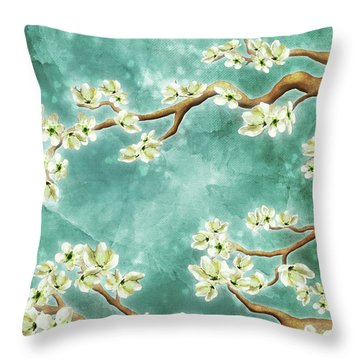 Tranquility Blossoms In Teal Throw Pillow