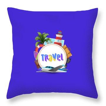Travel World Throw Pillow
