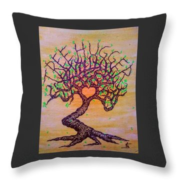 Throw Pillow featuring the drawing Tree Hugger Love Tree W/ Foliage by Aaron Bombalicki