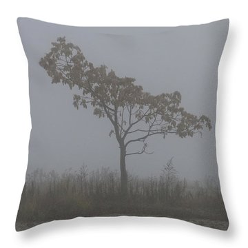 Throw Pillow featuring the photograph Tree In Fog by William Selander