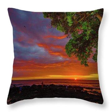 Tree  Sea And Sun Throw Pillow