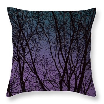 Tree Silhouette Against Blue And Purple Throw Pillow