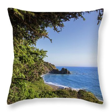 Trees And Ocean Throw Pillow