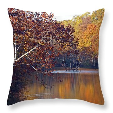 Throw Pillow featuring the photograph Trees At The Water's Edge by Mike Murdock