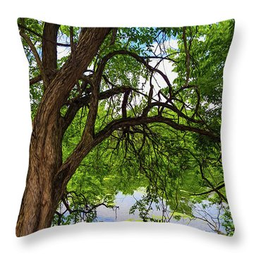 Trees Over Water Throw Pillow