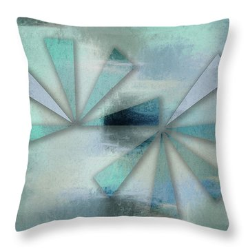 Triangles On Blue Grey Backdrop Throw Pillow