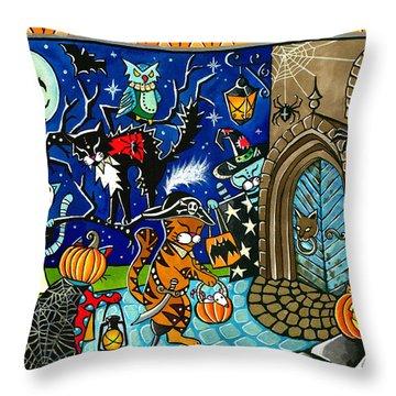Trick Or Treat Halloween Cats Throw Pillow