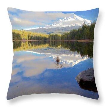 Trillium Lake Morning Reflections Throw Pillow