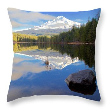 Trillium Lake November Morning Throw Pillow