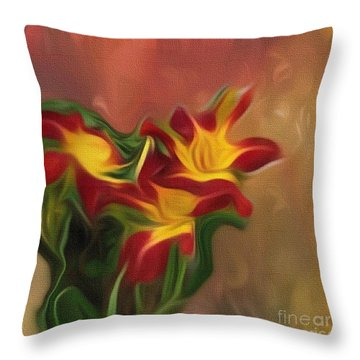 Trio Of Day Lilies Throw Pillow
