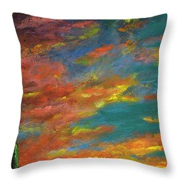 Triptych 1 Desert Sunset Throw Pillow