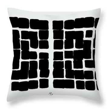 Throw Pillow featuring the digital art Triptych B/w 1 by Attila Meszlenyi
