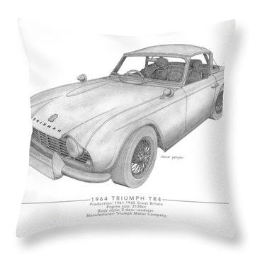 Triumph Tr4 Roadster Throw Pillow
