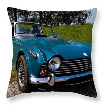 Triumph Tr5 Blue Throw Pillow