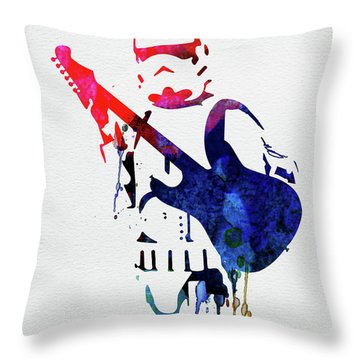 Trooper Playing Guitar Watercolor Throw Pillow