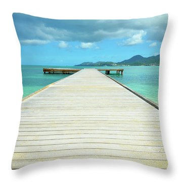 Tropical Caribbean Dock - St. Maarten Throw Pillow