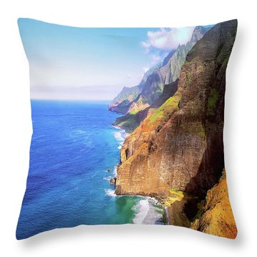 Throw Pillow featuring the digital art Tropical Coastline Hawaii Aerial Photograph Of The Isolated Napali Coast by OLena Art Brand
