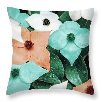 Tropical Dogwood Flowers Throw Pillow