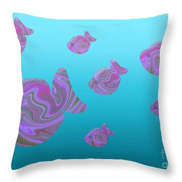 Tropical Fish In Pink Psychedelic Pattern Throw Pillow