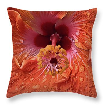 Throw Pillow featuring the digital art Tropical Hibiscus by Cindy Greenstein