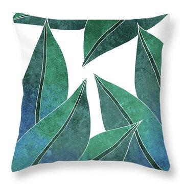 Tropical Leaf Illustration - Blue, Green - Botanical Art - Floral Design - Modern, Minimal Decor Throw Pillow