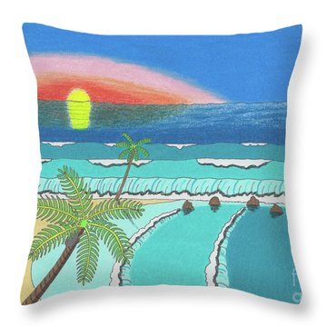Tropical Sunrise Throw Pillow