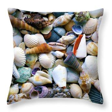Throw Pillow featuring the photograph Tropical Treasure Seashells A91218 by Mas Art Studio