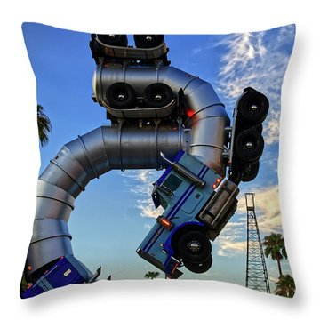 Throw Pillow featuring the photograph Truckin' by Skip Hunt