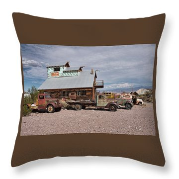 Trucks Lined Up In Nelson Throw Pillow