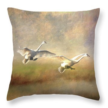 Trumpeter Swan Landing - Painterly Throw Pillow